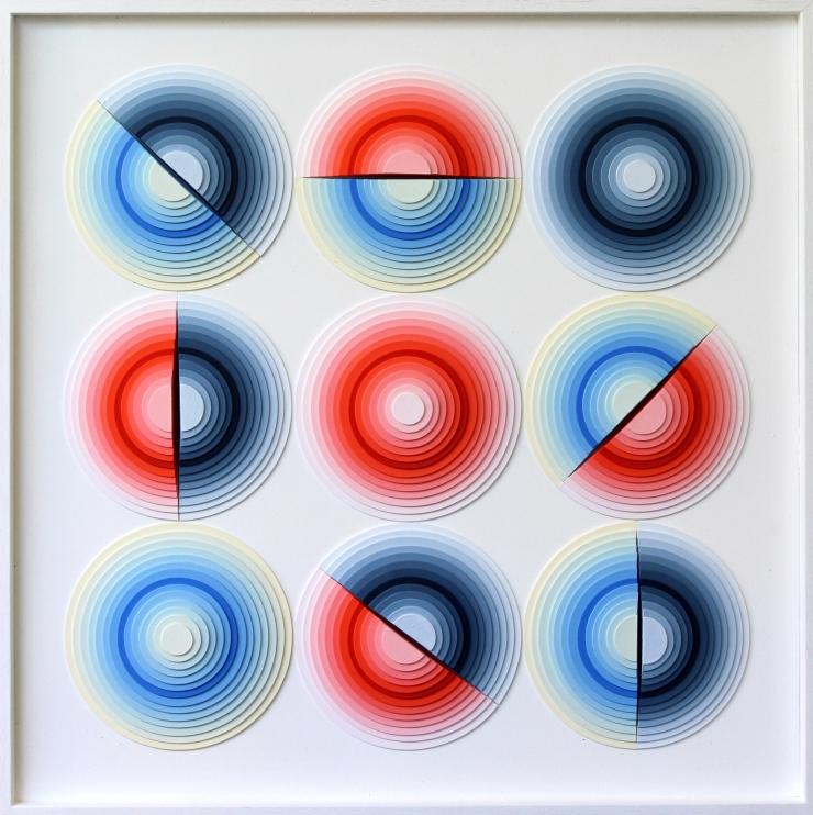 Rotation - Acrylique et carton contrecollé sur MDF, 50X50 cm