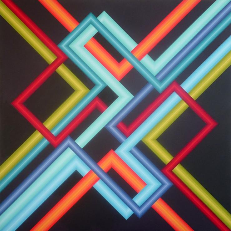 Réseau 2 - Acrylique sur toile 100X100 cm