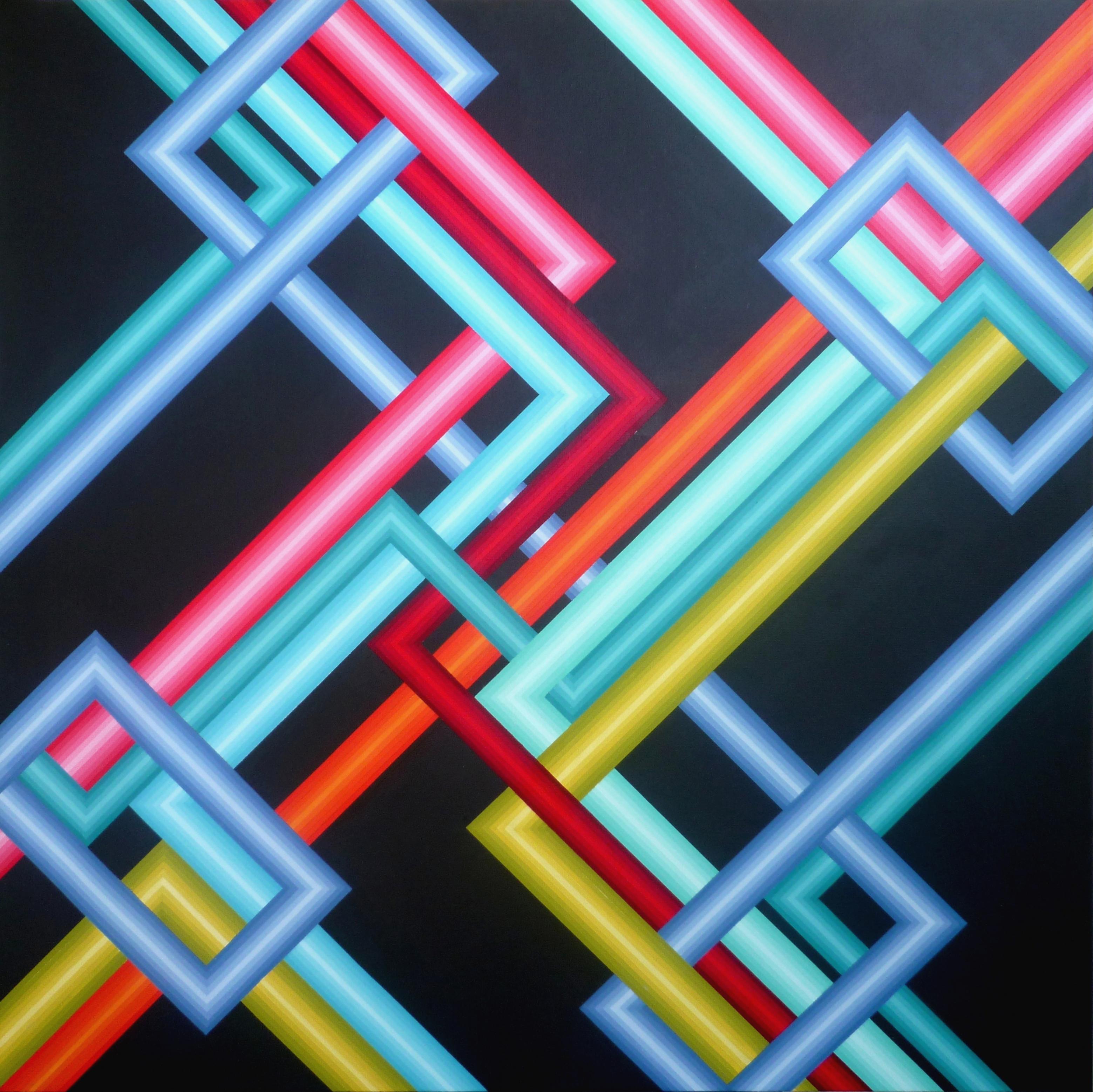 Réseau 3 - Acrylique sur toile 100X100 cm