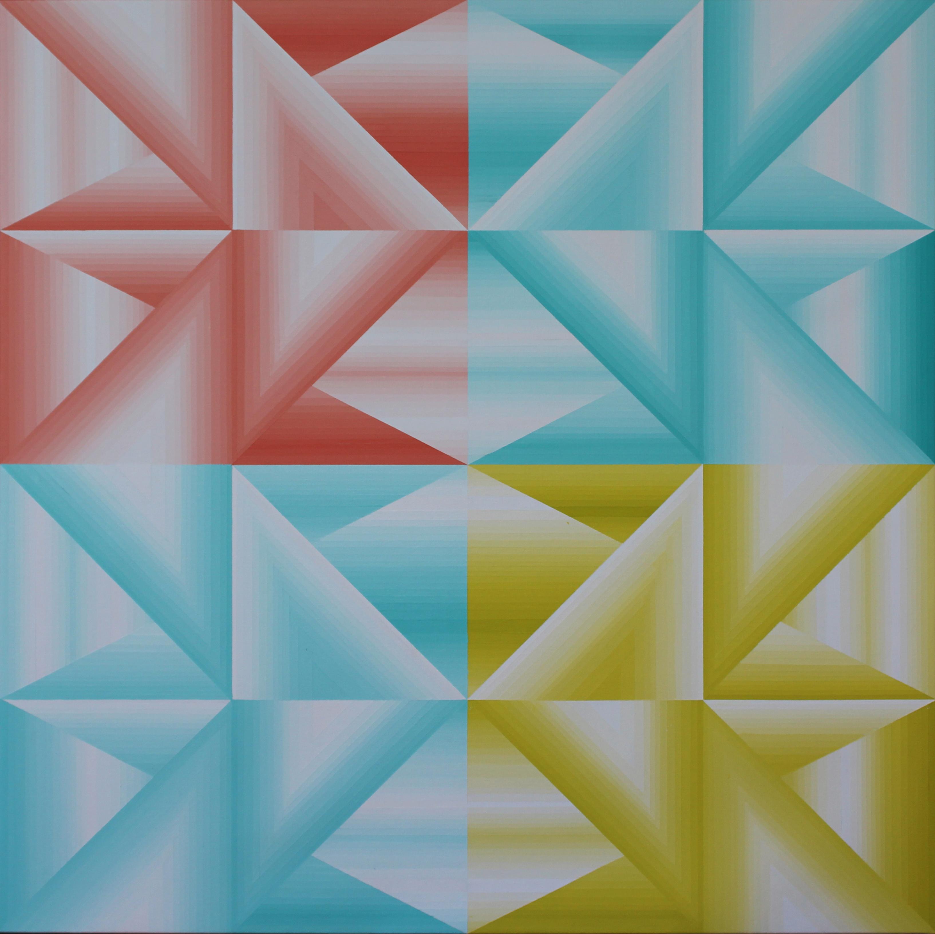 Structure chromatique 1 - Acrylique sur toile 100X100 cm