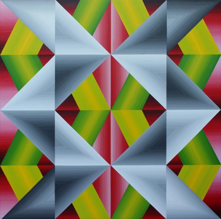 Structure chromatique 2 - Acrylique sur toile 100X100 cm
