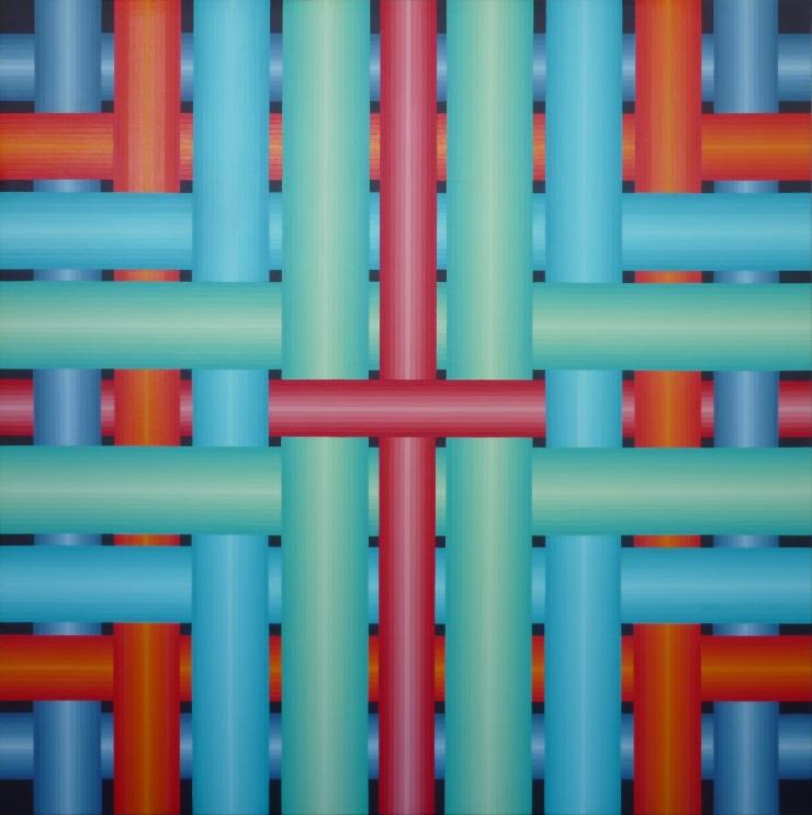 Réseau 7 - Acrylique sur toile 80X80 cm