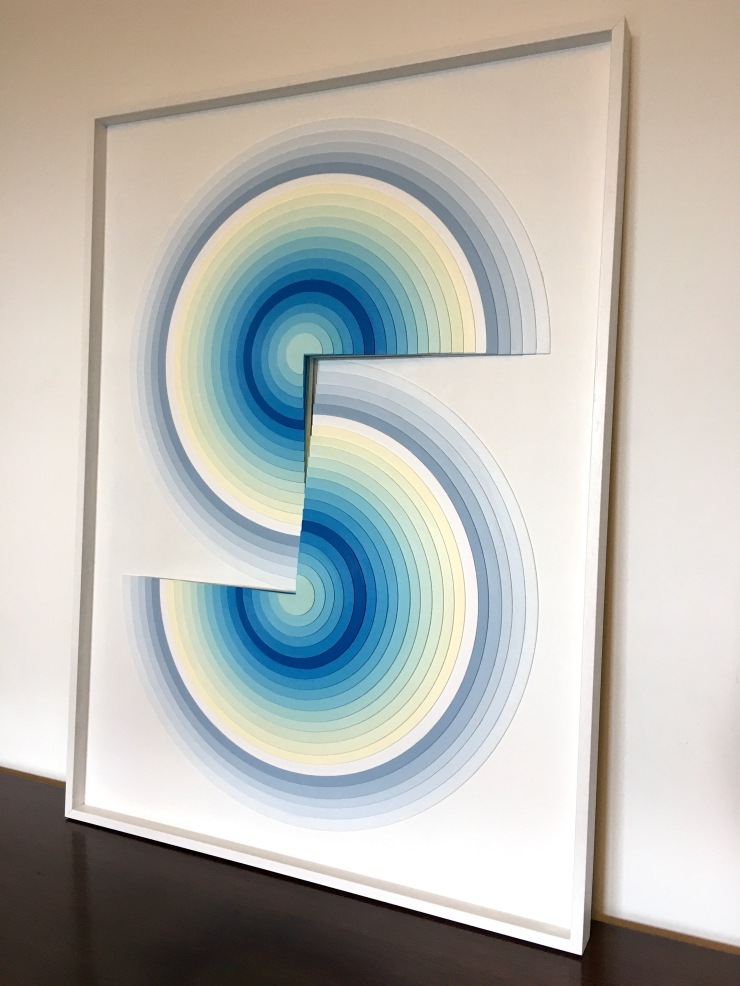 Onde I - Acrylique et carton contrecollé sur MDF, 54X74 cm